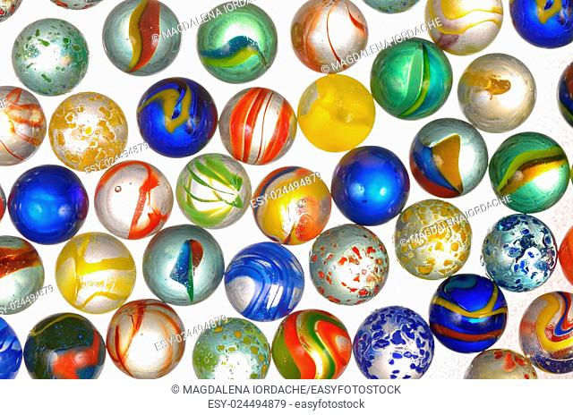 different marbles, glass balls
