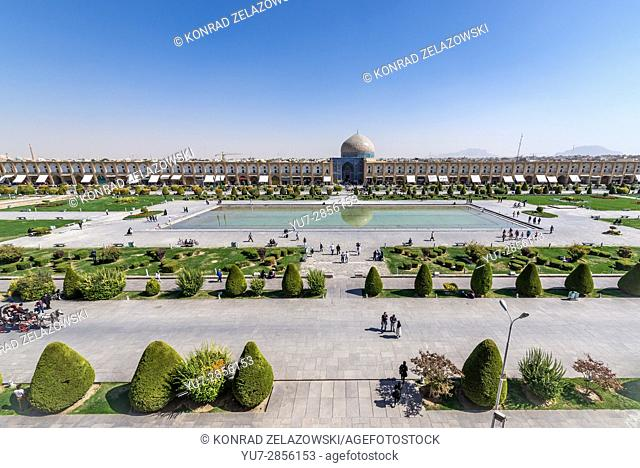 Aerial view on Naqsh-e Jahan Square (Imam Square, formlerly Shah Square) with Sheikh Lotfollah Mosque in centre of Isfahan in Iran