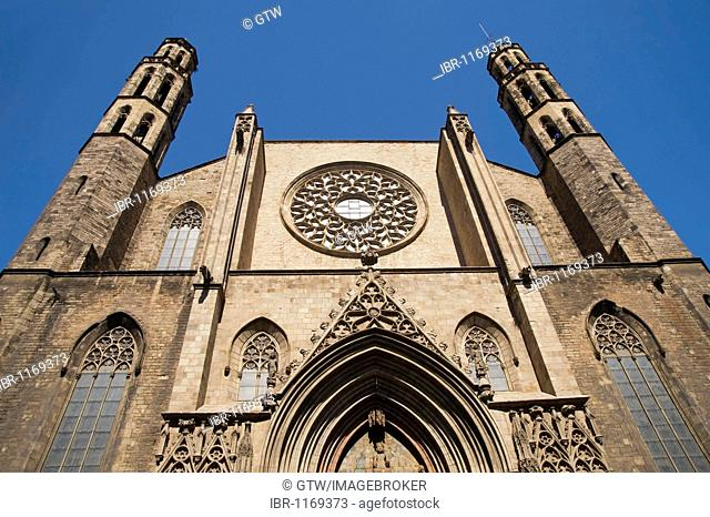 Gothic façade, Basílica Santa Maria del Mar, Barcelona, Catalonia, Spain, Europe