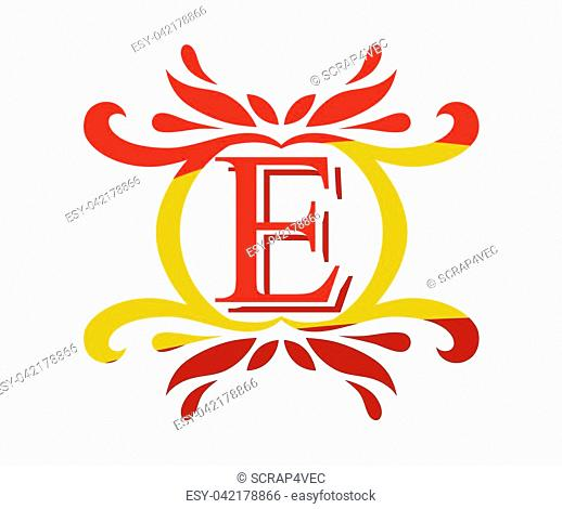 red gold color beautiful luxury classic vintage swirl or floral border logo design template with initial name of business company on it type letter e