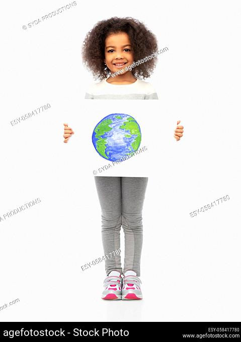 smiling girl holding drawing of earth planet