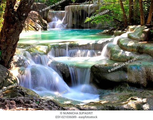 Beautiful Waterfall at Erawan National Park in Kanchanaburi , Thailand