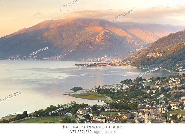 Sunrise on Bregagno mount and view of Sorico village, lake Como, Como province, Lombardy, Italy, Europe