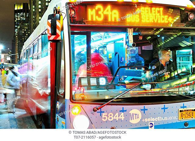 MTA M34 Bus, Public Transportion, Mass Transit, Metropolitan Transportation Authority, Public Transportation Buses, Mass Transit, Herald Square, 34th Street