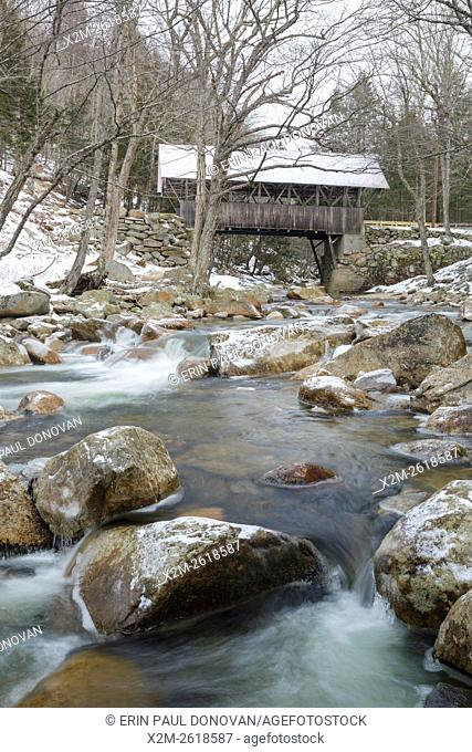 Flume Covered Bridge in Franconia Notch State Park of Lincoln, New Hampshire USA. This bridge crosses the Pemigewasset River