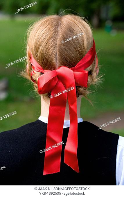 Young Woman in Estonian National Costume Wearing Headband