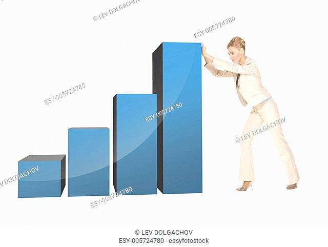 picture of beautiful businesswoman movign big 3d chart