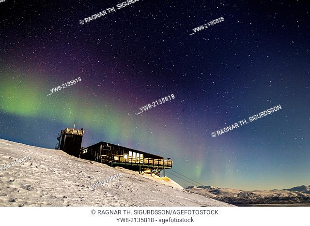 Aurora Borealis or Northern lights over the Abisko Sky Station, Abisko, Lapland, Sweden