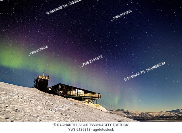 Aurora Borealis or Northern lights over the Abisko Sky Station, Abisko, Lapland, Sweden