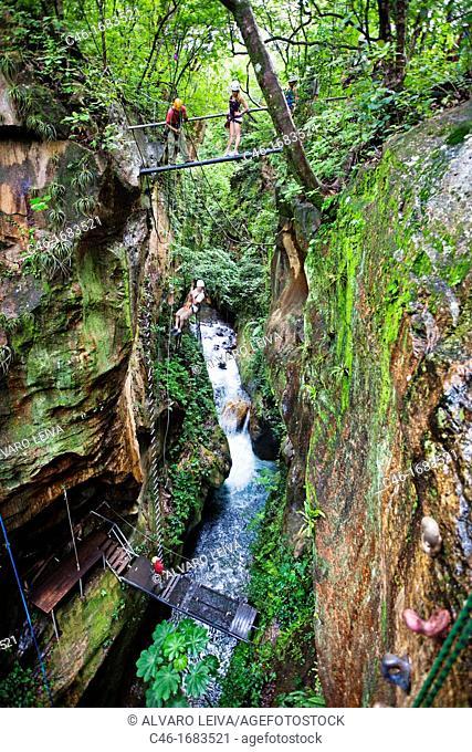 Zip wire canopy at Hacienda Guachipilin, Rincon de la Vieja National park, Costa Rica