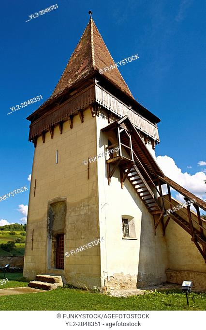 Defensive tower of the fortified Saxon churchof Biertan , the see of the Lutheran Evangelical Bishop in Transylvania between 1572 and 1867