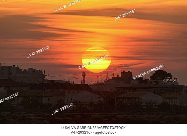 Silhouette of the apartments of San Pedro del Pinatar in the pueta of the sun, Murcia, Spain
