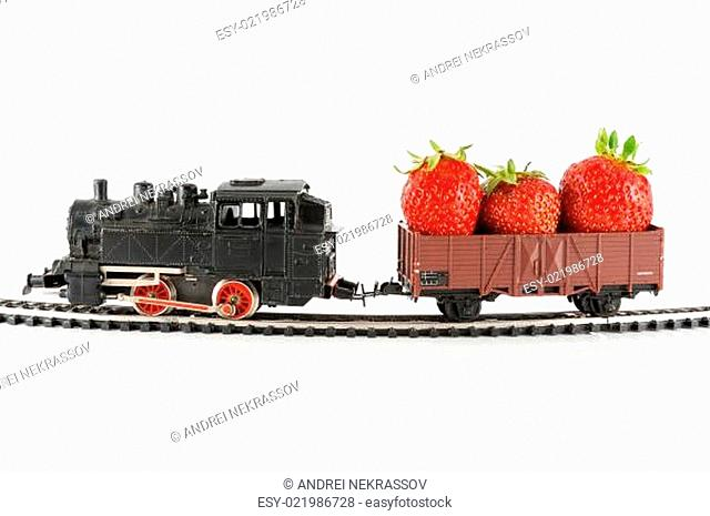 Train with strawberries