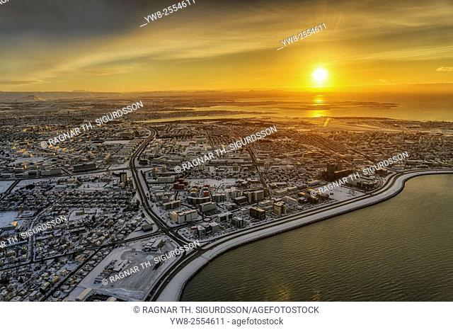 Aerial view of Reykjavik in the winter at sunset, Iceland