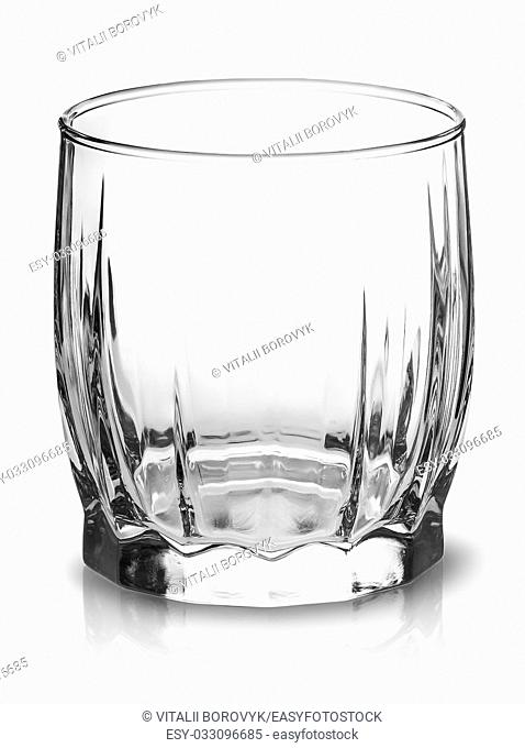 Empty glass for scotch whiskey top view isolated over white background