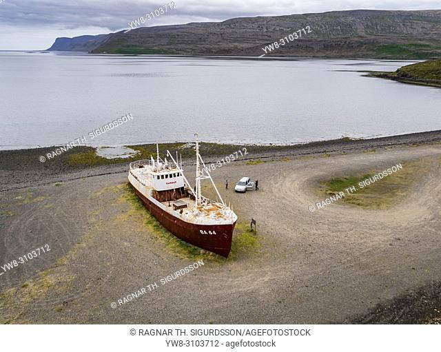 Stranded Fishing Trawler, Patreksfjordur, West Fjords, Iceland. This image is shot using a drone