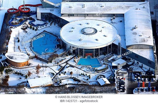 Aerial photo, Maximare adventure pool in the snow, Hamm, Ruhr Area, North Rhine-Westphalia, Germany, Europe