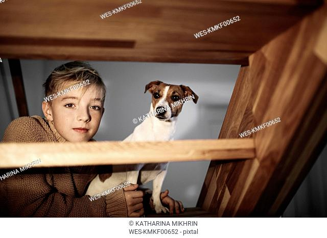 Portrait of boy with Jack Russel Terrier on stairs at home