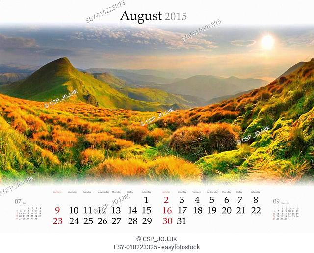 Calendar 2015. August. Beautiful sunrise landscape in the mounta