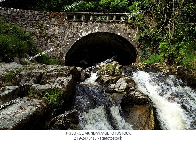 Bridge over the Shankhill River shortly before in joins the River Liffey, near Clogleagh,. County Wicklow, Ireland