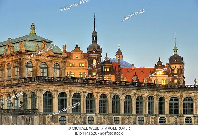 Zwinger Palace, armoury and East Asia Gallery with Zwinger balustrade in front of Dresden Castle with glass dome, Dresden, Free State of Saxony, Germany, Europe