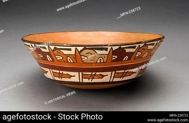 Open Bowl with Rows of Repeated Abstract Motifs - 180 B.C./A.D. 500 - Nazca South coast, Peru - Artist: Nazca, Origin: Nazca Valley, Date: 180 BC-500 AD