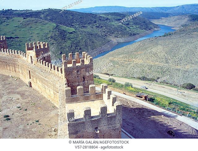 Castle and Rumblar reservoir. Baños de la Encina, Jaen province, Andalucia, Spain
