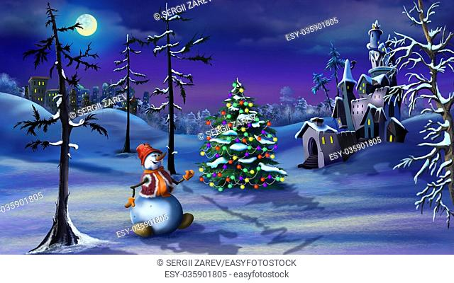 Snowman and Christmas Tree near a Magic Castle in a Fairy tale winter night Christmas Eve. Handmade illustration in a classic cartoon style