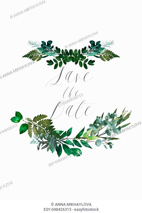 Watercolor modern decorative element. Eucalyptus round Green leaf Wreath, greenery branches, garland, border, frame, elegant watercolor isolated