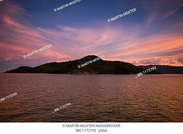 Sunset behind Sainte Anne Island, La Digue Island, Seychelles, Indian Ocean, Africa