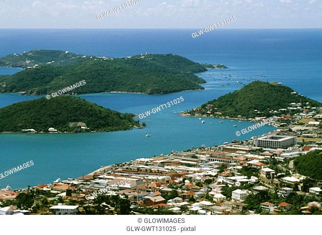 Aerial view of Charlotte Amalie and islands off the coast, St. Thomas, U.S. Virgin Islands