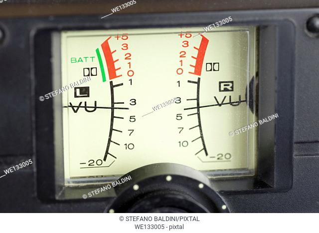 VU meter, audio signal volume unit, with needles indicating good levels