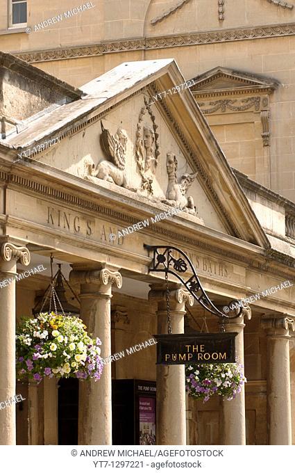 The Pump Room sign, The Roman Baths, Bath, Somerset, England, United Kingdom