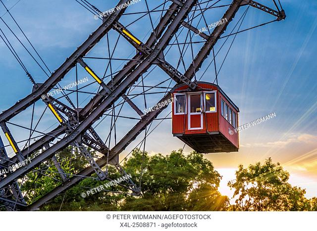 Ferris wheel in the Prater, amusement park, Prater, Vienna, Austria, Europe