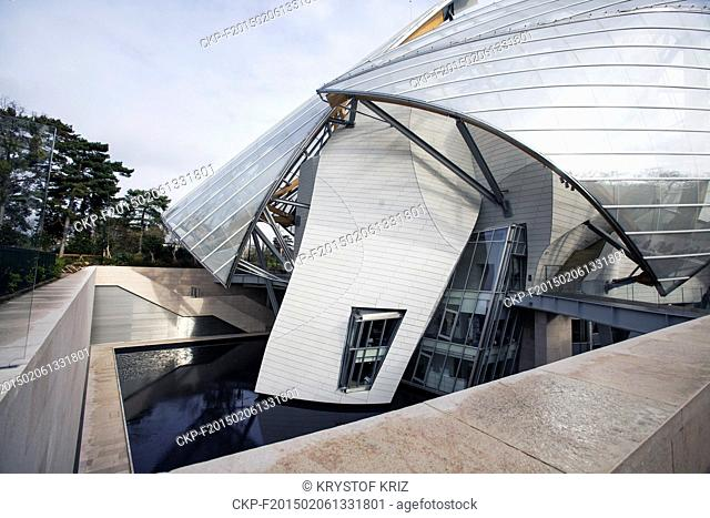 Louis Vuitton Foundation in Paris, France on January 26, 2015. Louis Vuitton Foundation in Bois de Boulogne in west part of Paris was opened on October 28, 2014