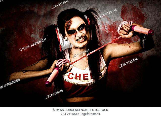Halloween portrait of a undead monster cheerleader causing destruction and chaos with a skipping rope. School massacre