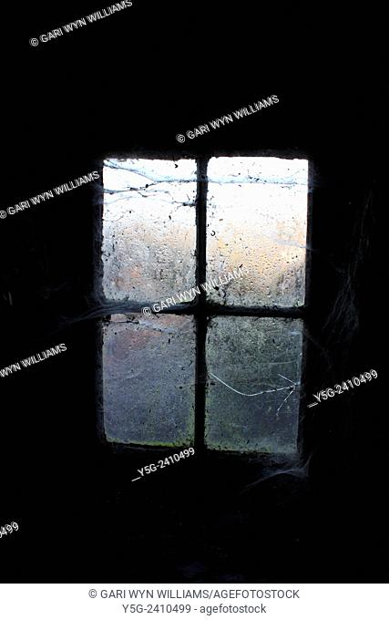 Window covered with cobwebs in abandoned shed building