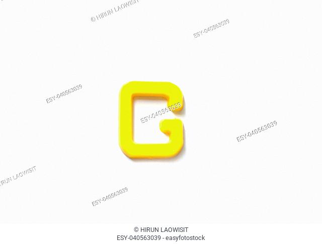 Plastic letters G isolated white background
