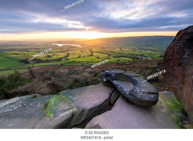 Sunset over Tittersworth Reservoir at The Roaches, Peak District National Park, Staffordshire, England, United Kingdom, Europe