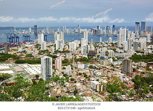 Bocagrande, view from the Cerro de la Popa, Cartagena de Indias, Bolivar, Colombia