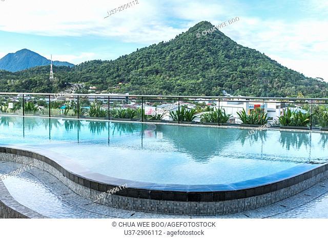 View of Singkawang town from Swiss-Belinn Hotel pool-side, West Kalimantan, Indonesia