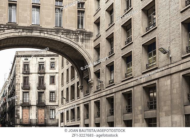 Classic facade building , Correos, Post Office building, Barcelona