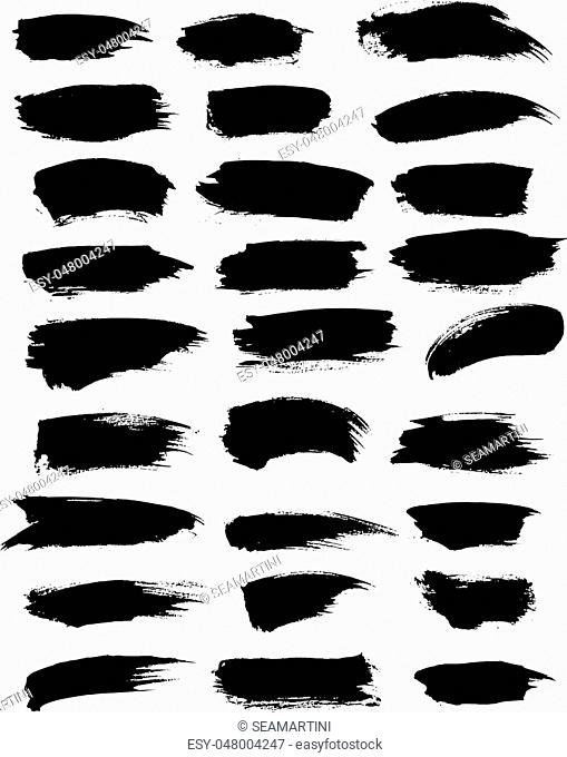 Black paint blobs and watercolor or marker brush strokes, highlighter vector lines of felt-tip pen. Abstract isolated dash lines or brushstrokes dabs and ink...