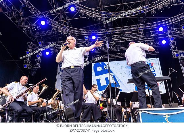Kiel, Germany - June 21st 2016: The Marinemusikkorps Kiel performs on the Rathaus Stage during the Kieler Woche 2016