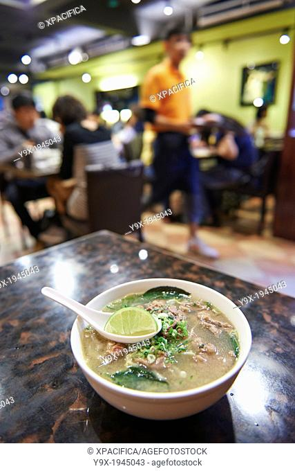 A bowl of clear broth beef pho Inside Thanh Ky, a vietnamese restaurant specializing in on Yongkang Street in Taipei