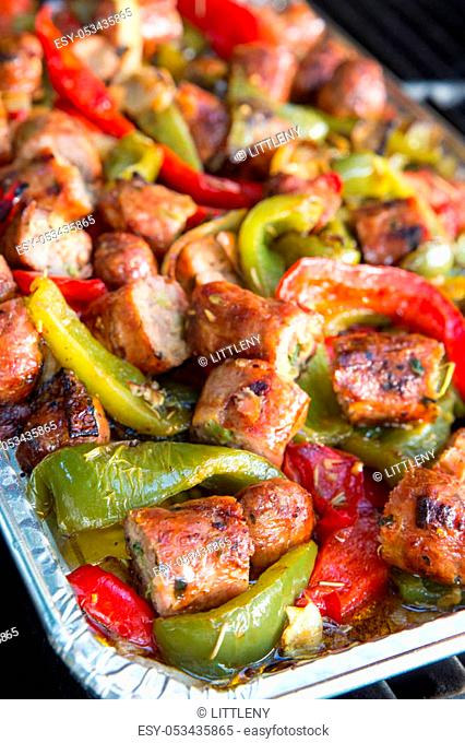 Italian cuisine of sausage and peppers