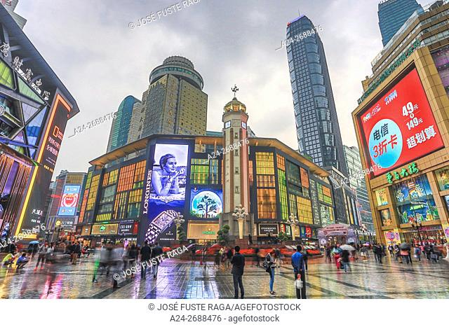 China, Chongqin City, Jiefangbei district, Central Plaza , Times square, Liberatiom Monument