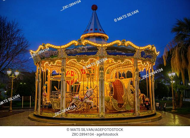 Carousel in Dusk in Antibes, Provence-Alpes-Côte d'Azur, France