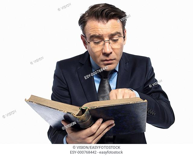 man caucasian teacher historian reading old book isolated studio on white background
