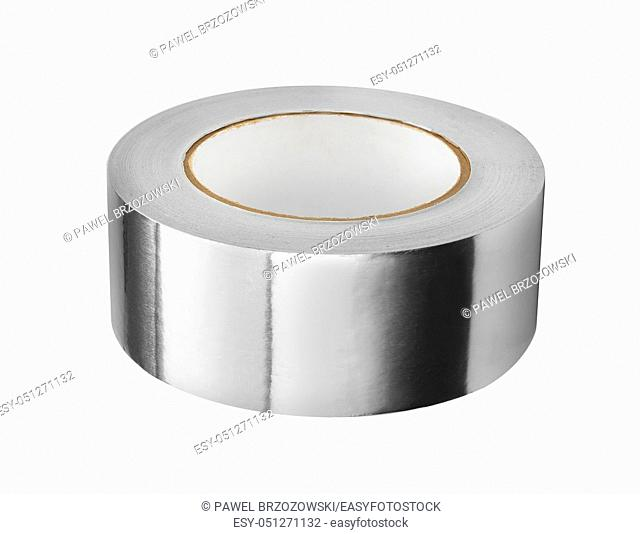 Aluminium tape isolated on a white background. . Aluminum foil in roll, rolled metal products